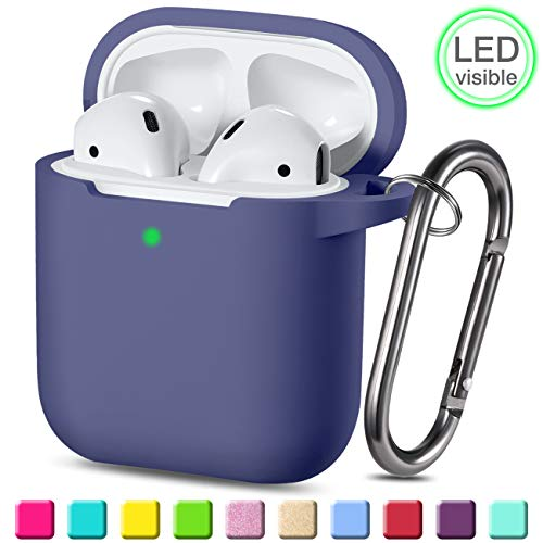 Wepro Protective Cover Designed for AirPod Case (Front LED Visible), Silicone Cases Cover Skin Compatible with AirPods 2 & 1 Charging Case, with Keychain, Boys, Girls (Blue Gray)