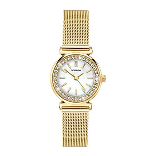 Sekonda - Reloj de pulsera milanesa chapado en oro