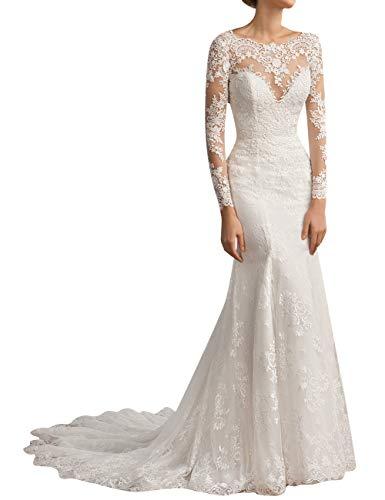 SongSurpriseMall kant bruidsjurk bruiloftsjurk zeemeermin lange mouwen bruidsmode feestjurk bruidsjurk met sleep