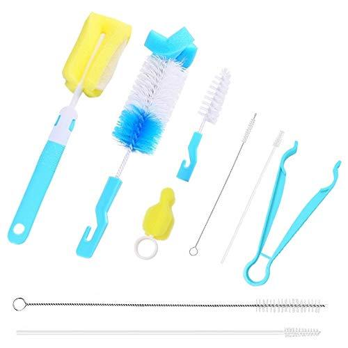 9 Stück Flasche Reinigungsbürste, Baby Flaschen Reinigung Sbürste Set mit Schwamm Nylon Flaschenbürste Schnullerbürste Edelstahl Strohbürste Reinigungsset für Babyflaschen(Blau)