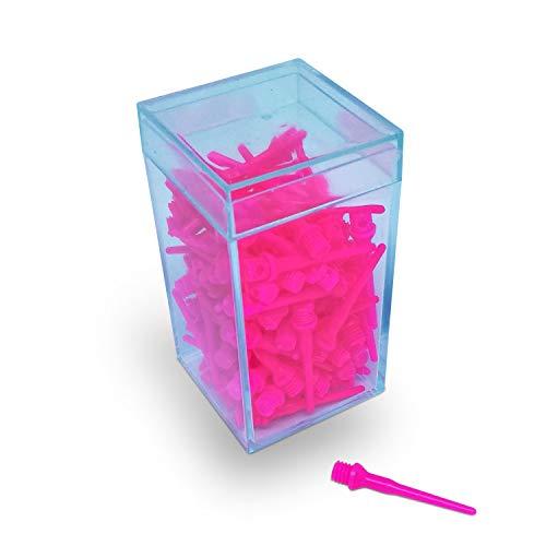 BILLARES Y DARDOS CAMARA Box mit 100 Spitzen Dartspitzen Widerstandsfähige Pfeile für elektronische Dartscheiben, 2ba Gewinde Geeignet für Haushaltspfeile und professionelle Dartpfeil. (Pink)