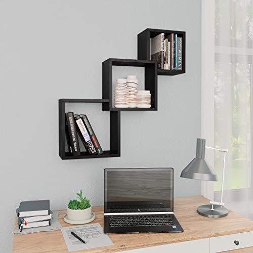 UnfadeMemory Cube Wandregale Hängeregal Bücherregal Spanplatte Würfelregal Sammlerstücke Bücher Aufbewahrung Regal 68 x 15 x 27 cm (Schwarz)