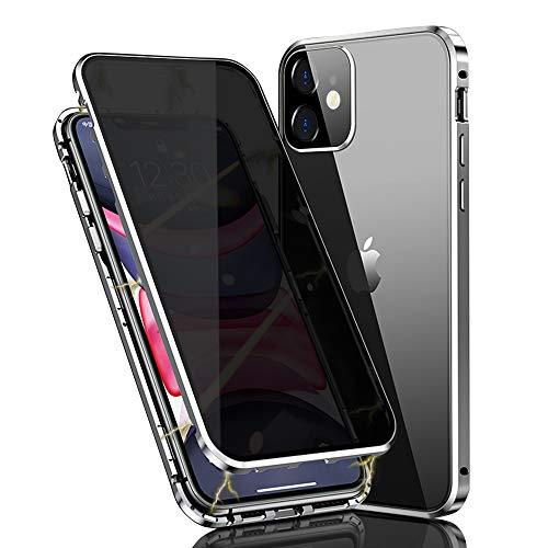 HaptiCover - Funda para iPhone 11 con absorción magnética de 360 grados de protección de aluminio marco de vidrio templado fuerte imán a prueba de golpes metal Flip caso