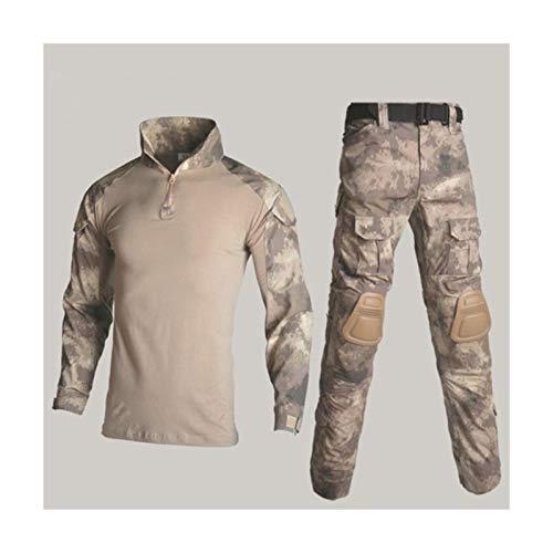 HXSZWJJ Camisa del Uniforme Militar + Pantalones con la Rodilla Cojines de Codo al Aire Libre Paintball táctico Ghillie Traje de Camuflaje Ropa de la Caza (Color : Cyan Ruins, Size : XXL)