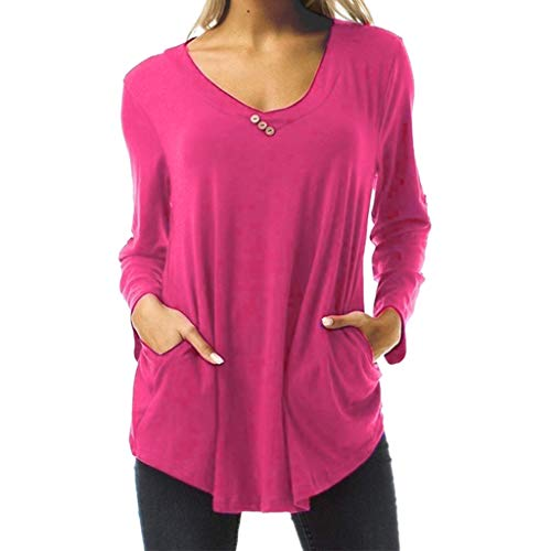 Fantastic Prices! NANTE Top Loose Women's Blouse Solid V-Neck Button T-Shirt Long Sleeve Tops Work W...