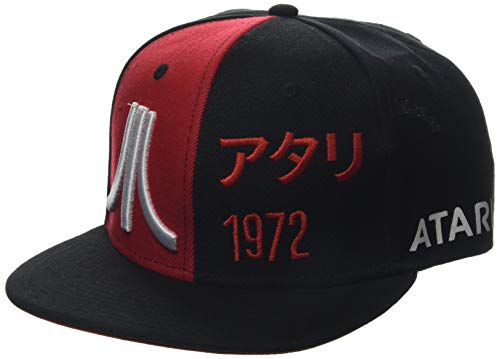 Bioworld Atari Embroidered Bi-Colour Japanese 1972 Snapback Baseball Cap Gorra de béisbol, Negro (Black Black), Talla única Unisex Adulto