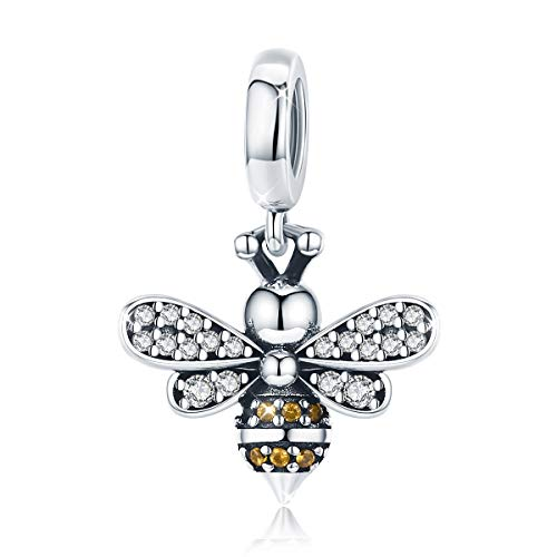 Abalorio de abeja de plata de ley 925 con circonita cúbica para pulseras Pandora