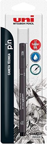 Caneta Técnica Uniball PIN 0.5mm, Cinza Escuro, Blister com 1 unidade