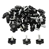 WMYCONGCONG 30 PCS Male Thread Screw On Type Knurled Clamping Screw Nuts Knob Handle M5 M6...