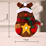 CHBOP 3 x 4 Stück Weihnachten Bestecktasche Besteckbeutel Besteckhalter Weihnachtsdeko tischdeko Rentier Schneemann Weihnachtsmann insgesamt - 4