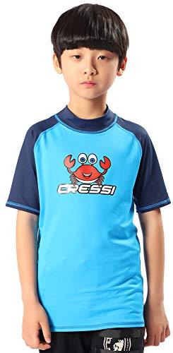Cressi Rash Guard Short Jr , Unisex Niños, Azul (Aquamarine/Blue), 3/4 años 104 cm