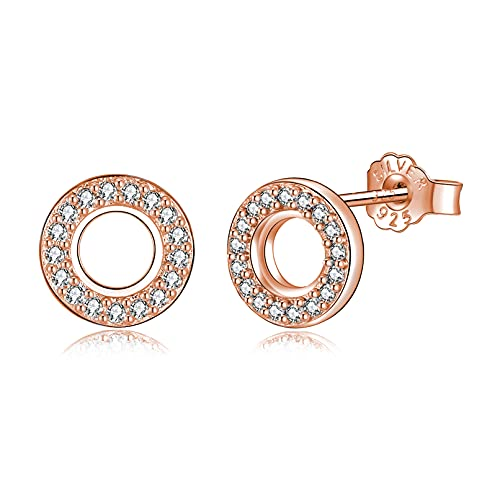 Pendientes Mujer Plata de Ley 925, Pendientes Pequeños y Hipoalergénicos con Circonita Cúbica para Mujeres y Niñas, Diámetro de 8 mm en 3 Colores (plata/oro/rosa)rosa