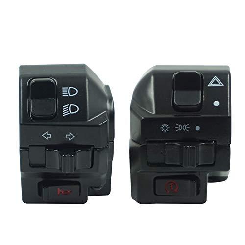 "SHENTIANWEI Black Universal Aluminum 7/8"" 22MM Motorcycle Switch Handlebar Motorbike Horn Turn Signal Headlight Control Buttons"