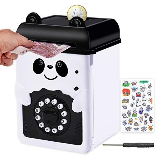 MOMMED Salvadanaio Panda, salvadanaio elettronico con Password, salvadanaio Bambini, salvadanaio Digitale Come Regalo per Compleanno, Natale, Capodanno, ATM salvadanaio Alimentato da 3 batterie AA