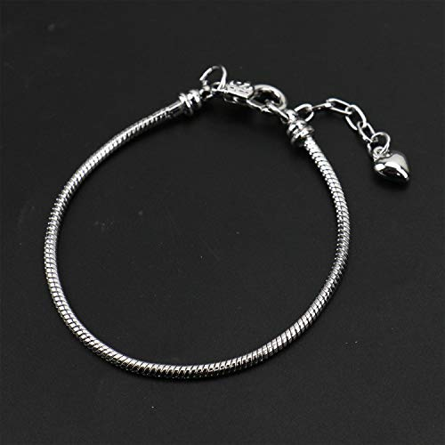 JETEHO 10 Pcs 7.87 Inch Silver Snake Chain Charm Bracelets with Heart Lobster Clasp Extender Chain Troll Chamilia Carlo Biagi European Charm Bracelet for Jewelry Making
