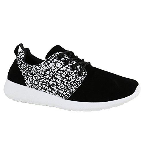 stiefelparadies Damen Sport Übergrößen Trendfarben Runners Sneakers Lauf Fitness Prints Schuhe 137882 Schwarz Weiss Muster 37 Flandell
