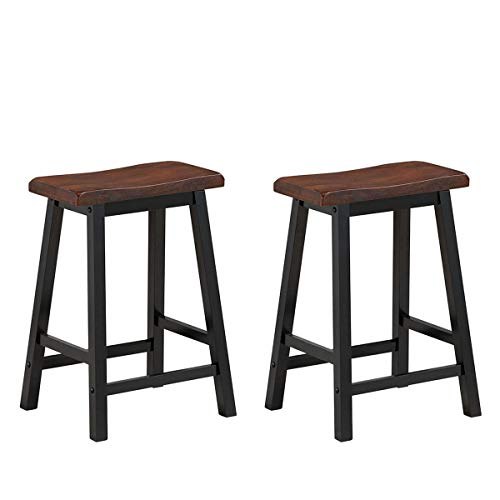 COSTWAY Saddle Seat Stools, Wood Vintage Counter Height Chairs, Modern Backless Design Indoor Furniture for Kitchen Dining Pub and Bistro, Set of 2 (24