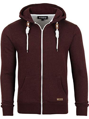 riverso RIVThilo Sweat-Shirt à Capuche pour Homme Sweat à Capuche zippé Basic Uniforme Coton Gris Marron Vert Rouge Bleu Noir S M L XL 2XL 3XL 4XL 5XL - Rouge - Large