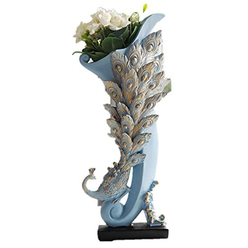 Beeldjes Standbeelden Vaas Decoratie Huis Hars Pauwen Bloemen Vaas Ambachten Voor Kamer Tv-Kast Tafelblad Bloemenfles Standbeeld Geschenken