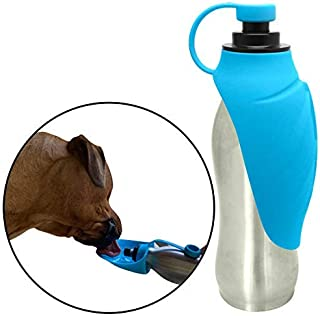 Piezzo Portable Dog Water Bottle - Stainless Steel and Food Grade Silicone, Leak Proof, Lightweight, and Durable | Great for Travel, Running, and The Dog Park