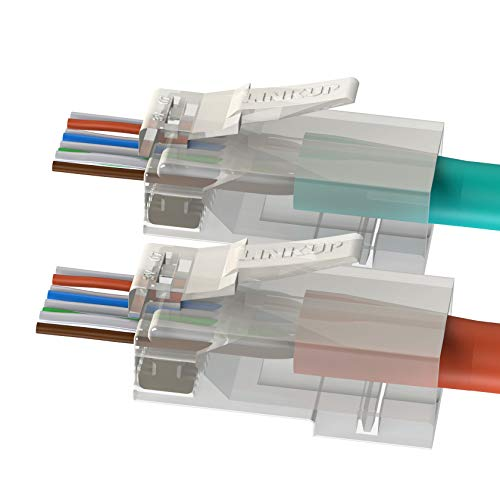 LINKUP - Cat6 RJ45 Easy Pass Thru Connector | Ethernet LAN Internet Jack Adapter | UTP Gigabit Network Round Cable Plug | Low NEXT RL | High Performance | 105 Pack