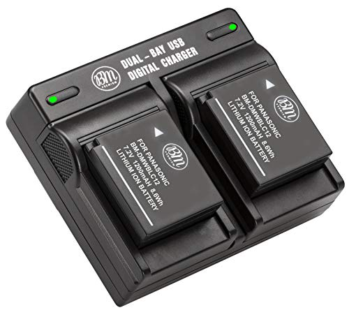 BM Premium 2 Pack of DMW-BLC12 Batteries and Dual Bay Charger for Panasonic Lumix DC-FZ1000 II DC-G95 DMC-G85 DMC-GH2 DMC-G5 DMC-G6 DMC-G7 DMC-GX8 DMC-FZ200 DMC-FZ300 DMC-FZ1000 DMC-FZ2500 Cameras