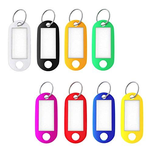 Key Tags with Split Ring, 16PCS Family Key Fobs Labels ID Keyring Tags, 8...