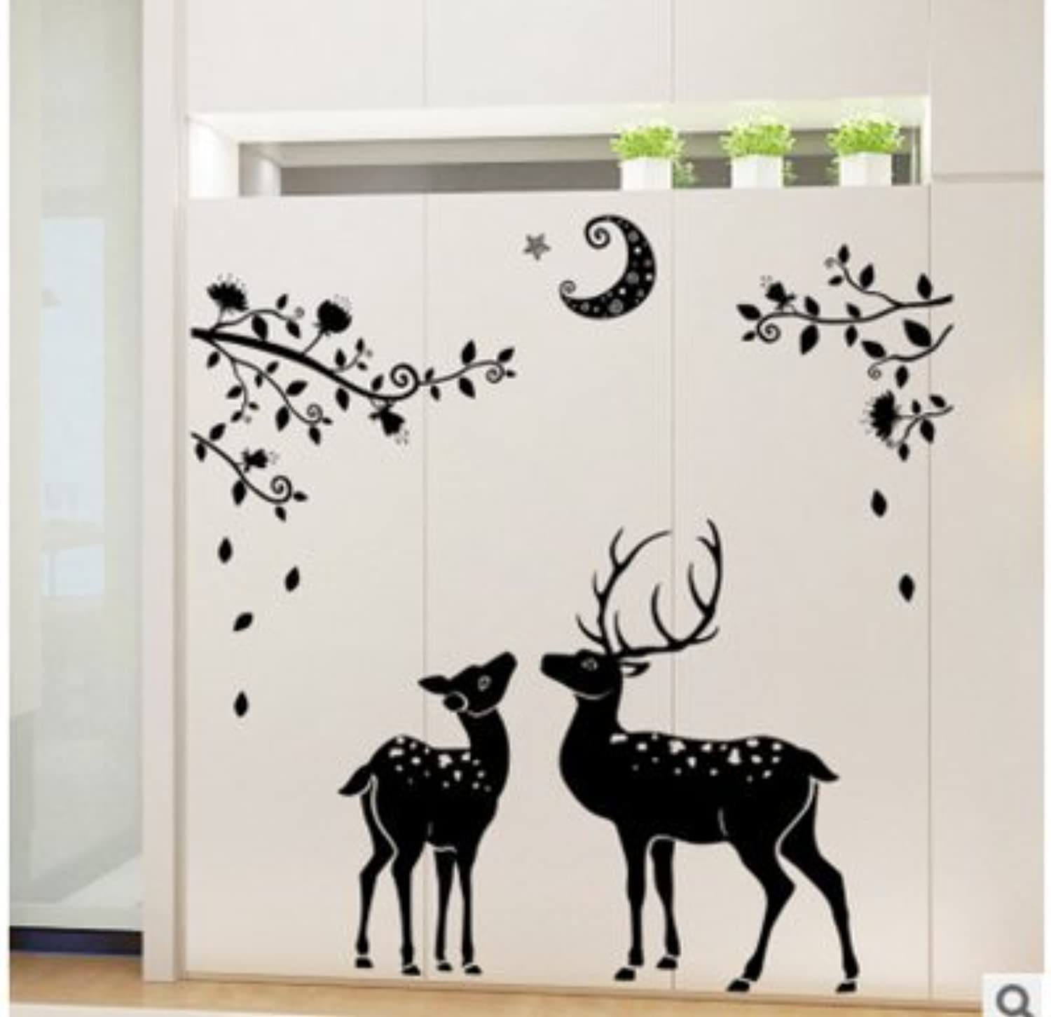 Znzbzt Deer Wall Decals Bedroom Creative Paintings on The Wall Art Decor Sticker, Maroon + Small Deer Silhouette, King