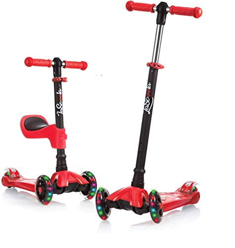 Lascoota 2-in-1 Kick Scooter for Kids with Removable Seat Great for Kids & Toddlers Girls or Boys – Adjustable Height w/Extra-Wide Deck PU Flashing Wheels for Children from 2 to 14 Year-Old (Red)
