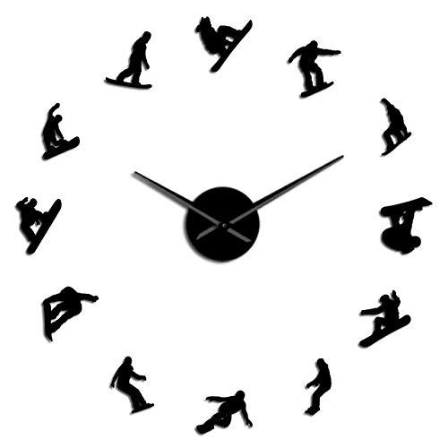 PLEASUR Snowboard Spiegel Spiegel Wandkunst Aufkleber Home Decor Snowboarder Verschiedene Haltungen Rahmenlose große Uhr Uhr