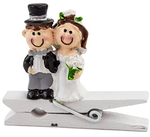 Brubaker 6er Set Mini Holz Wäscheklammern mit Hochzeitspaar - Tischklammern - Tischkartenhalter - Hochzeitsdeko - für Hochzeit, Verlobung