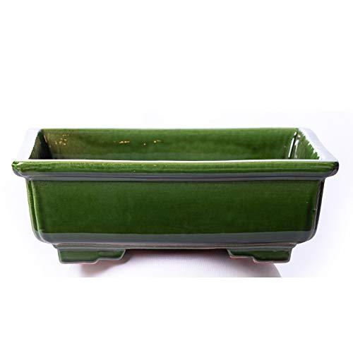 Maceta para Bonsai DE Barro Y ESMALTADA EN Verde. Medidas 28X22X10CM.Modelo Kobe. con TU Compra TE REGALAMOS EL Plato.