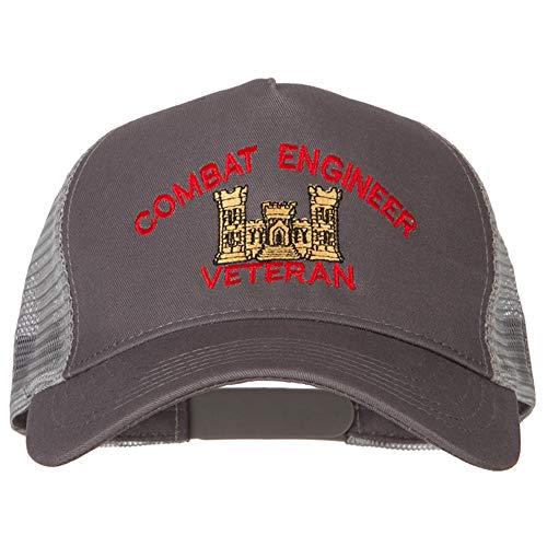 e4Hats.com Combat Engineer Veteran Logo Embroidered New Big Size Trucker Mesh Cap - Grey OSFM