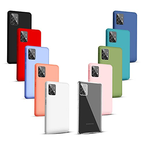 NUDGE 10X Fundas para Samsung Galaxy A52(4G 5G),Carcasa Silicona de Color Sólido Anticaída,Cubierta Flexible Ultrafina a Prueba de Arañazos y Golpes-10 Colores