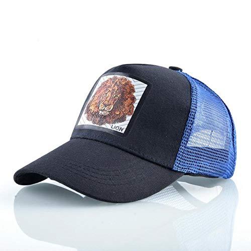 JKFXMN Atmungsaktive Mesh Baseball Cap Männer Frauen Trucker Caps Aback Hip Hop Baseball Hut Mit Patck Streetwear Visier Hüte, Dunkelblauer Löwe