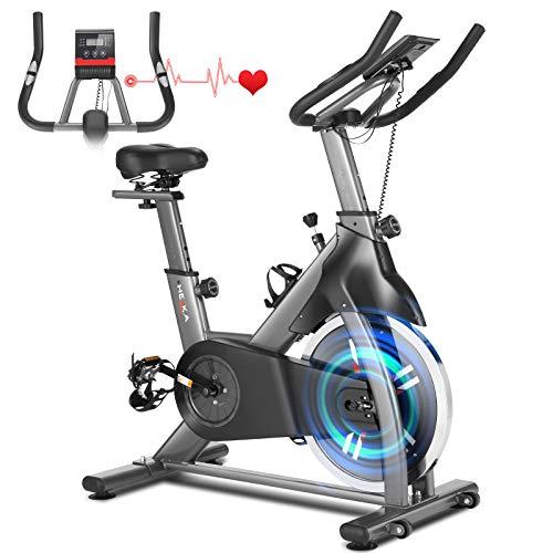 HEKA Bicicletas Estáticas y de Spinning para Fitness, Bicicleta Spinning Bici Estática de Interior, Bicicleta de Ejercicio con Rueda de 18kg, Asiento Ajustable, Pulsómetro y Pantalla LCD, Max.200kg