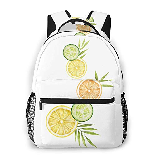 Lawenp School Backpacks Watercolor Card with Lemon Cucumber Slices for Teen Girls&Boys 16 Inch Backpack Student Bookbags Laptop Casual Rucksack Travel Backpack