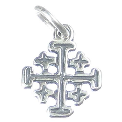 Anhänger aus Sterling-Silber 925, Motiv: Jerusalem Kreuz, 1 Stück