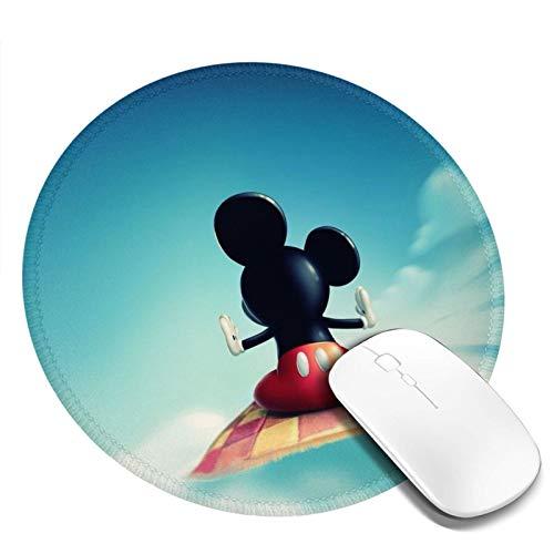 Omigge Alfombrilla De Ratón Redonda De Dibujos Animados, Alfombrilla De Ratón con Base De Goma Antideslizante para Ordenador Y Portátil, Disney Mickey Mouse Vuela En La Nube