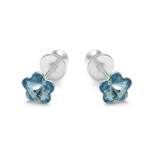 butterfly Damas Pendientes de Mujer Plata ley Azul Claro Gato Swarovski Elements Original Satén los Bolsos Regalo Cumpleaños