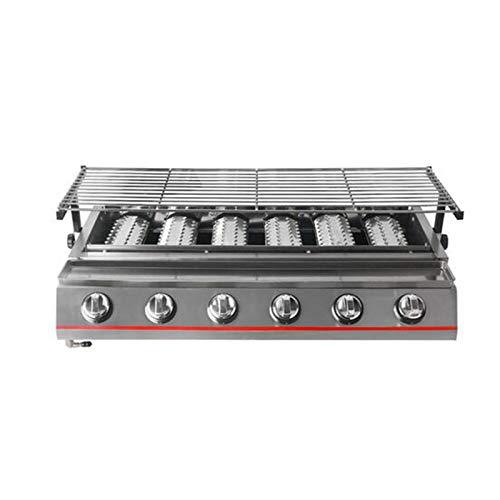 MEIGONGJU 6 Brenner Gas-Grill Edelstahl LPG Griddle Barbecue Grill Heavy Duty Küche Barbecue Werkzeuge für Outdoor-Maschine,Sliver Steel