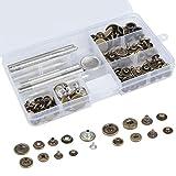 POKIENE 50 Set Snap Button, Botón a Presión de Costura de Metal de 12.5 MM, Cierres con 9 Herramientas de Sujeción para Jeans Fabric Leather Craft DIY