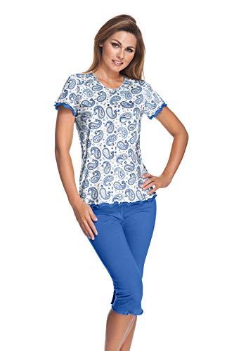 e.FEMME Damen Schlafanzug Marion 310 mit Kurzarm und 3/4 Hose aus 50% Baumwolle + 50% Modal - Bluse in Paisley Druck Hose, Uni Royal - Größe 46