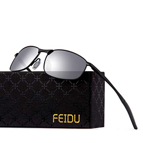 FEIDU Sportbrille Sonnenbrille Herren Polarisierte-HD Lens Metal Frame Driving Shades FD 9005 (silver, 57)