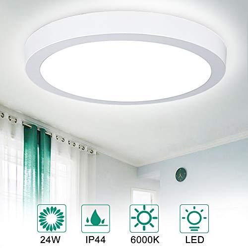 DLLT LED Deckenlampe Rund 24W Panel, Superhell 1920lm 6000k Kaltweiß IP44 Wasserdicht, 80% Energieeinsparung Deckenleuchte für Wohnzimmer, Schlafzimmer, Kinderzimmer, Küche, Büro, Flur