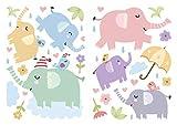 dekodino Pegatina de pared elefantes pastel abigarrado set cuarto del bebé