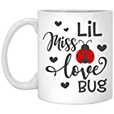 Tazza da caffè divertente in ceramica, per San Valentino, con scritta 'Lil Miss Love Bug', regalo per mamma, papà, marito, moglie, fidanzato, fidanzata, Pasqua, regalo per regalo, 425 ml