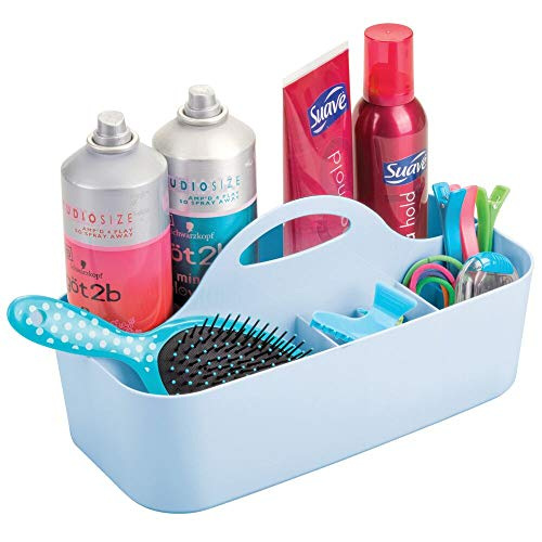 mDesign Plastic Portable Storage Organizer Caddy Tote - Divided Basket Bin with Handle for Bathroom, Dorm Room - Holds Hand Soap, Body Wash, Shampoo, Conditioner, Lotion - Large - Light Blue