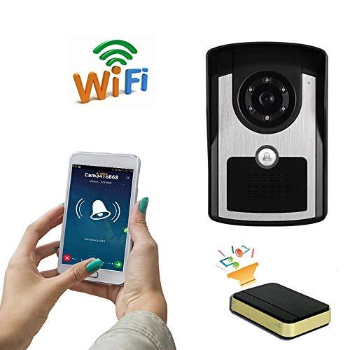 MOMAMO Videoportero, Timbre de Video, Timbre Intercomunicador WiFi, función de interfono, Resistente al Agua Video bidireccional en Tiempo Real Visión Nocturna Detección de Movimiento PIR