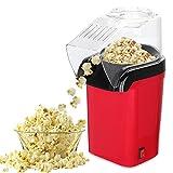 FOGARI Máquina para hacer palomitas de maíz, 1200 W, para el hogar, aire caliente, sin grasa, sin aceite, con cuchara medidora (rojo)